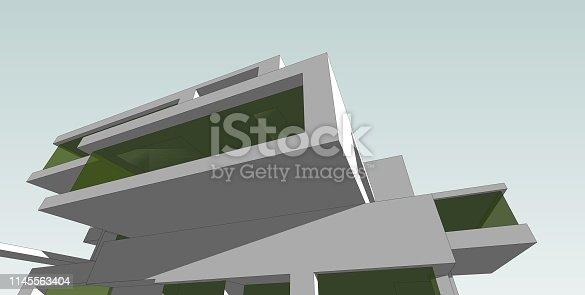 1145563376 istock photo 3D illustration architecture building. 1145563404