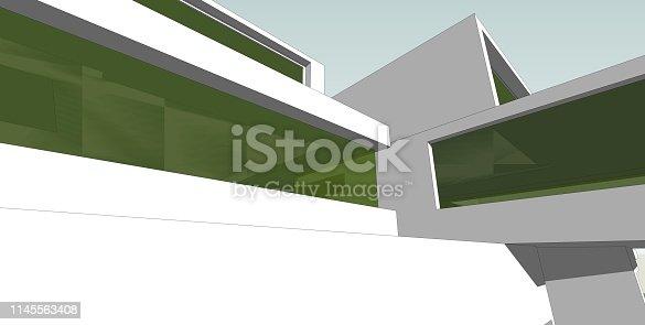 1145563376 istock photo 3D illustration architecture building. 1145563408