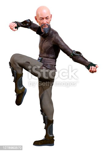 3D rendering of an Asian man exercising kung fu isolated on white background