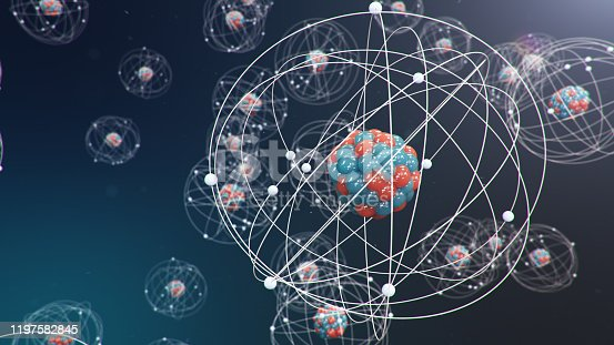 629533394 istock photo 3D Illustration Atomic structure. Atom is the smallest level of matter that forms chemical elements. Glowing energy balls. Nuclear reaction. Concept nanotechnology. Neutrons and protons - nucleus. 1197582845