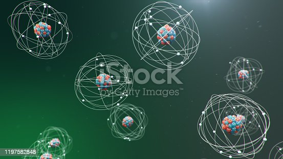 629533394 istock photo 3D Illustration Atomic structure. Atom is the smallest level of matter that forms chemical elements. Glowing energy balls. Nuclear reaction. Concept nanotechnology. Neutrons and protons - nucleus. 1197582848
