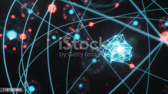 629533394 istock photo 3D Illustration Atomic structure. Atom is the smallest level of matter that forms chemical elements. Glowing energy balls. Nuclear reaction. Concept nanotechnology. Neutrons and protons - nucleus. 1197582850