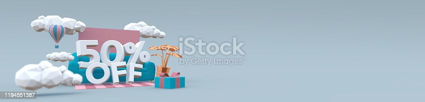 istock 3D illustration banner in pastel colors with text: 50 fifty percent off. Sale concept. 1194551387