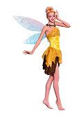 3D illustration beautiful fantasy fairy on white