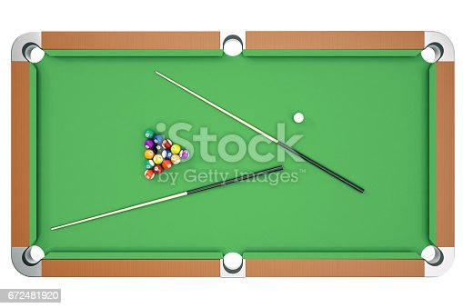 istock 3D illustration Billiard balls on green table with billiard cue, Snooker, Pool game, Billiard concept. Top view 672481920