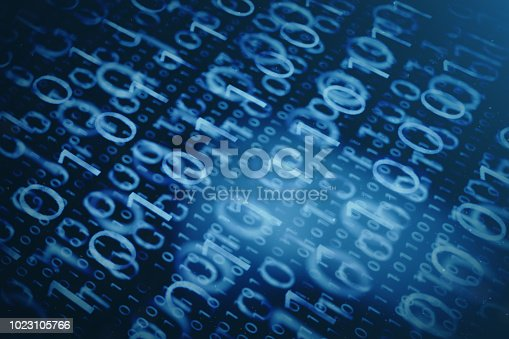 istock 3D illustration binary code on blue background. Bytes of binary code. Concept technology. Digital binary background. 1023105766