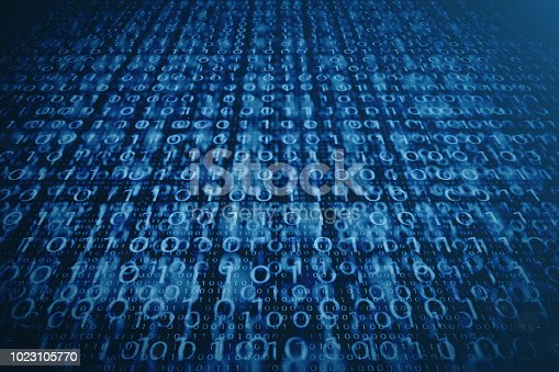 848353924istockphoto 3D illustration binary code on blue background. Bytes of binary code. Concept technology. Digital binary background. 1023105770