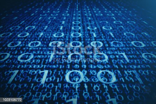 istock 3D illustration binary code on blue background. Bytes of binary code. Concept technology. Digital binary background. 1023105772