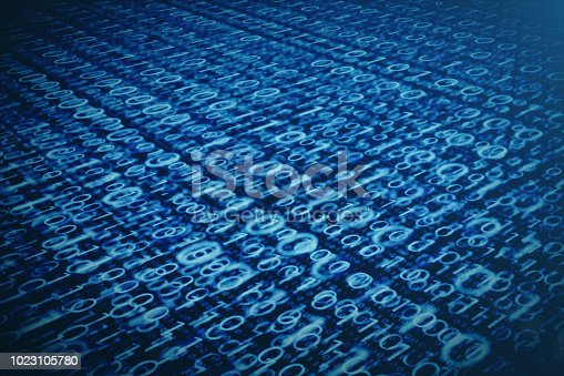 848353924istockphoto 3D illustration binary code on blue background. Bytes of binary code. Concept technology. Digital binary background. 1023105780