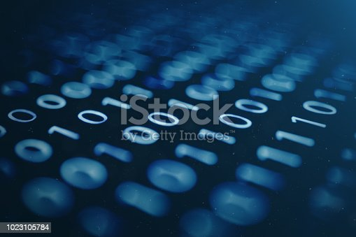 istock 3D illustration binary code on blue background. Bytes of binary code. Concept technology. Digital binary background. 1023105784