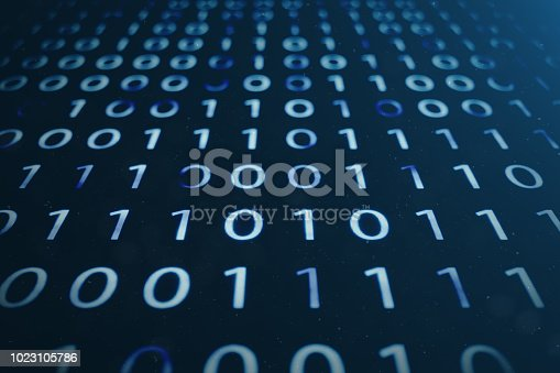 848353924istockphoto 3D illustration binary code on blue background. Bytes of binary code. Concept technology. Digital binary background. 1023105786