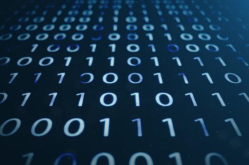 848353924 istock photo 3D illustration binary code on blue background. Bytes of binary code. Concept technology. Digital binary background. 1023105786