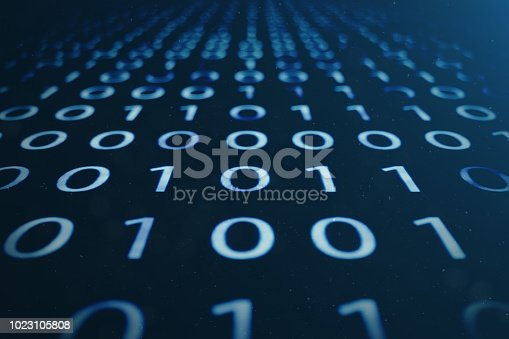 848353924istockphoto 3D illustration binary code on blue background. Bytes of binary code. Concept technology. Digital binary background. 1023105808
