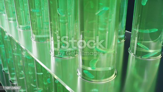 istock 3D Illustration biofuel oil research in the laboratory, biofuel concept. Bacteria in the liquid inside the test tube as fuel. Biotechnology. Glassware flasks. Laboratory research concept. Test tubes 1168138007