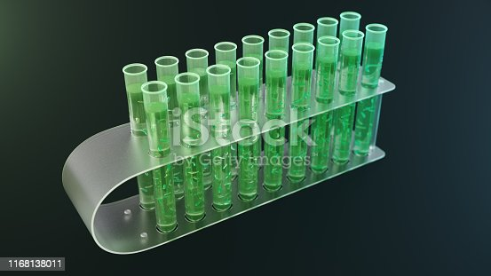istock 3D Illustration biofuel oil research in the laboratory, biofuel concept. Bacteria in the liquid inside the test tube as fuel. Biotechnology. Glassware flasks. Laboratory research concept. Test tubes 1168138011