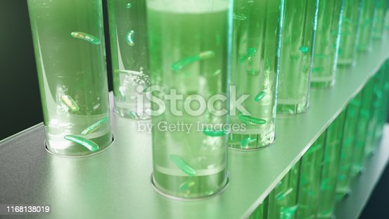 istock 3D Illustration biofuel oil research in the laboratory, biofuel concept. Bacteria in the liquid inside the test tube as fuel. Biotechnology. Glassware flasks. Laboratory research concept. Test tubes 1168138019
