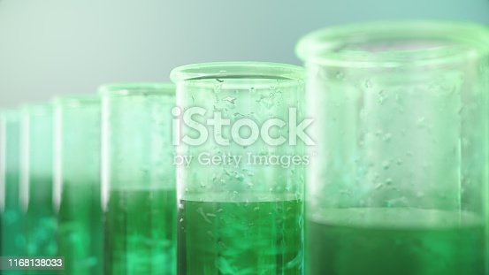 istock 3D Illustration biofuel oil research in the laboratory, biofuel concept. Bacteria in the liquid inside the test tube as fuel. Biotechnology. Glassware flasks. Laboratory research concept. Test tubes 1168138033
