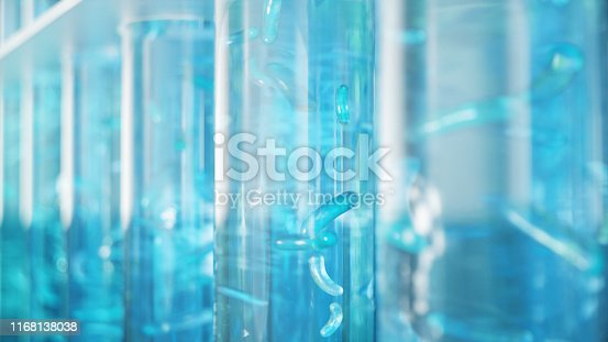 istock 3D Illustration biofuel oil research in the laboratory, biofuel concept. Bacteria in the liquid inside the test tube as fuel. Biotechnology. Glassware flasks. Laboratory research concept. Test tubes 1168138038