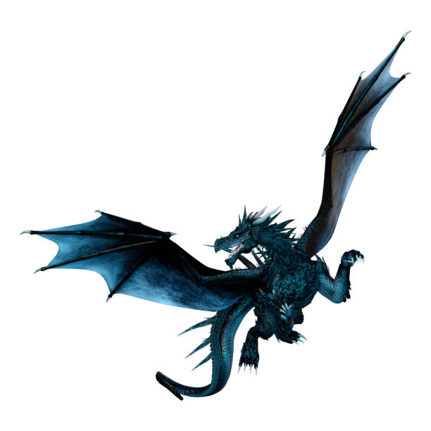 3D illustration black fairy tale dragon on white 3D rendering of a black fairy tale dragon isolated on white background dragon stock pictures, royalty-free photos & images