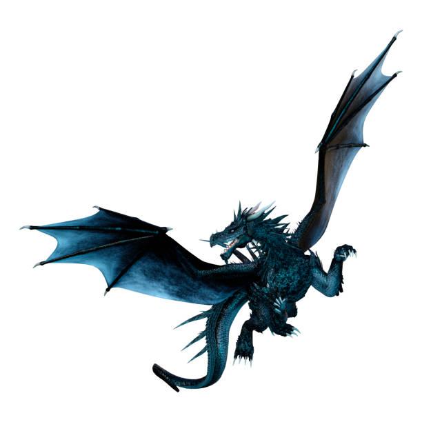 dragón de cuento de hadas negro ilustración 3d sobre blanco - dragón fotografías e imágenes de stock