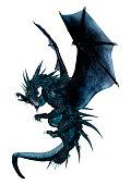 3D illustration black fantasy dragon on white