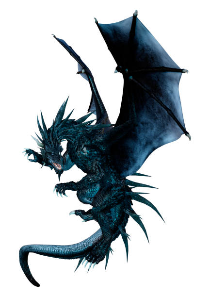3D illustration black fantasy dragon on white stock photo