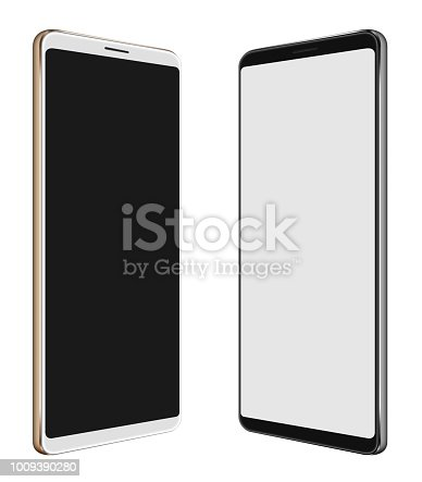 istock 3D illustration Black Smartphone & White Smartphone with big screen isolated on white 1009390280