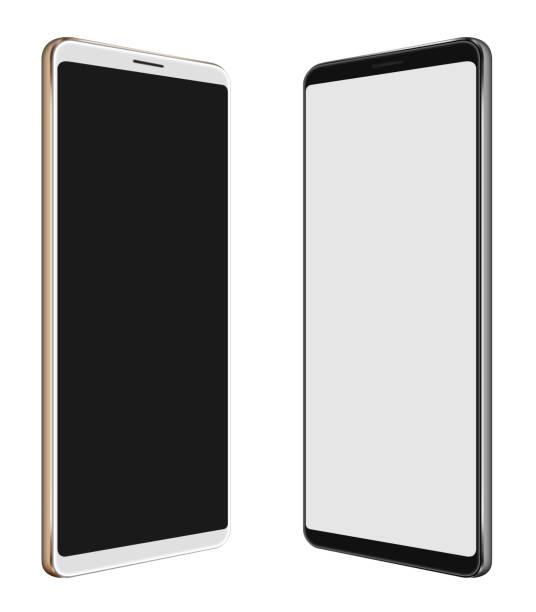 ilustración 3d smartphone de smartphone blanco y negro con pantalla grande aislado en blanco - perspectiva fotografías e imágenes de stock
