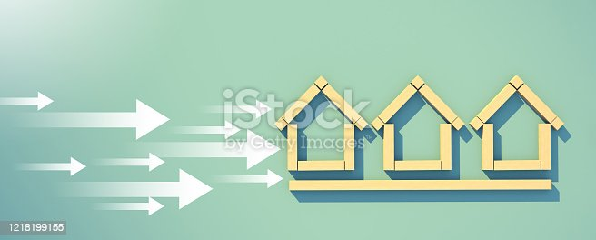 istock 3D illustration business financial house ideas concept with wooden block in house symbol shape with white direction arrow on green paper background 1218199155