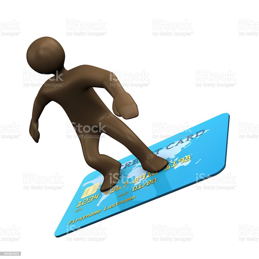 3D Illustration, cartoon character surfing on creditcard stock photo