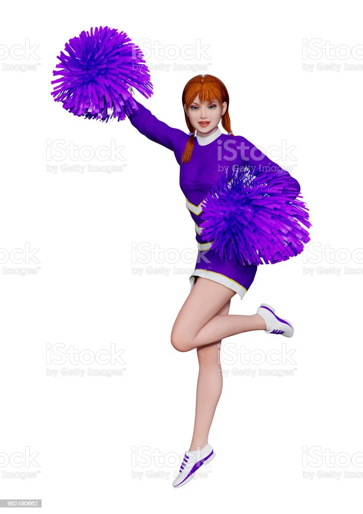 3D illustration cheerleader with pompoms on white stock photo