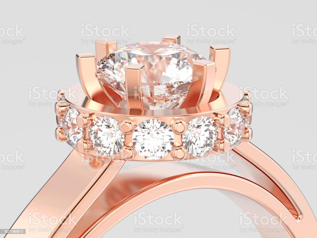 3D illustration close up rose gold halo bezel pave diamond ring on a...
