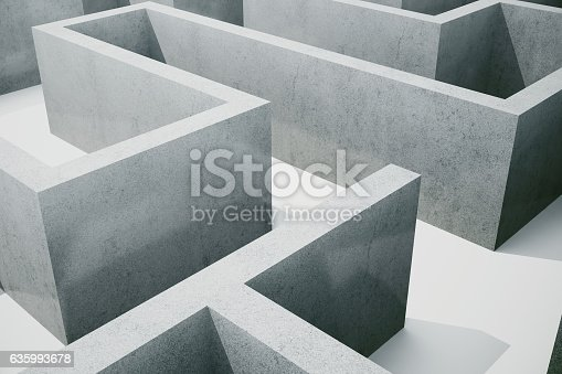 istock illustration cocrete labyrinth, complex problem solving concept 635993678