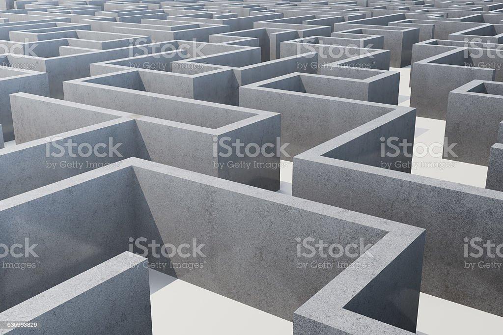 illustration cocrete labyrinth, complex problem solving concept stock photo