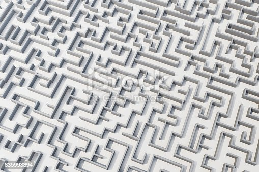 istock illustration cocrete labyrinth, complex problem solving concept 635993894