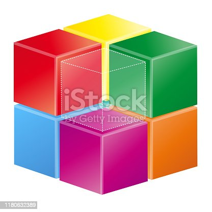 3D Illustration Colored cube 3 D on white background