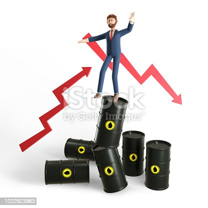 3D illustration concept of glut and instability in the world oil market. The collapse of energy prices, financial crisis. Uncertainty businessman trying to keep balance on stack of crude oil gallon.