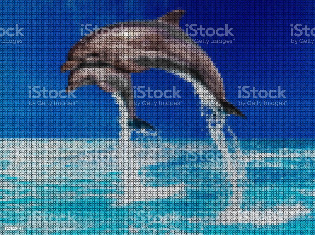 Illustration. Cross-stitch. Dolphins in the sea. stock photo