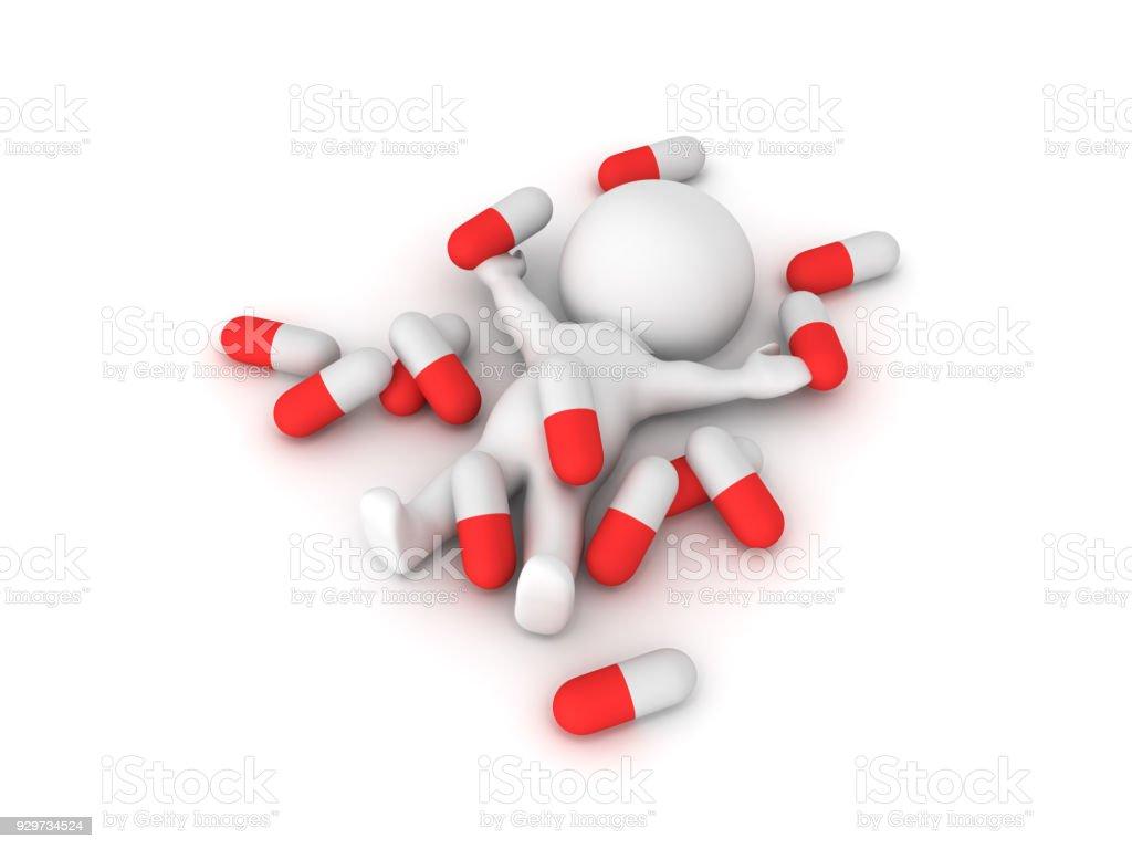 3D illustration depicting drug medicine abuse stock photo