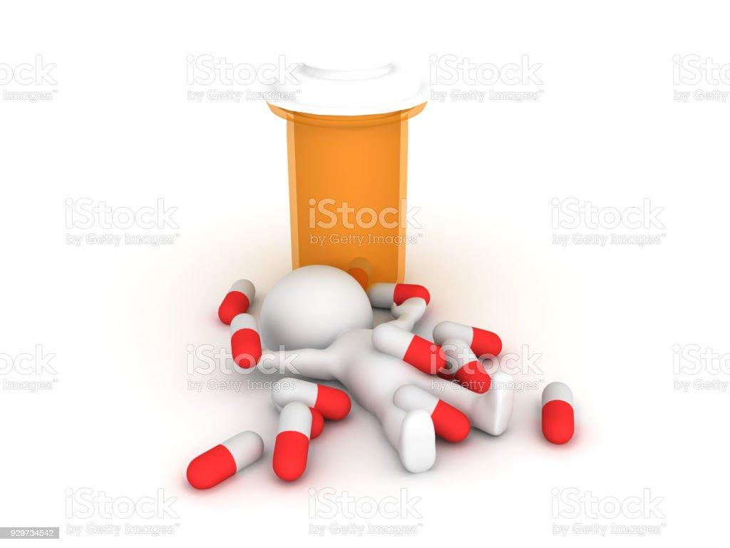 3D illustration depicting pharmaceutical pill abuse stock photo