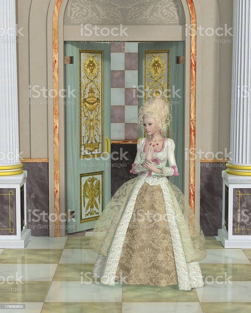 Illustration depicting Queen Marie Antoinette in the Palace of Versailles stock photo