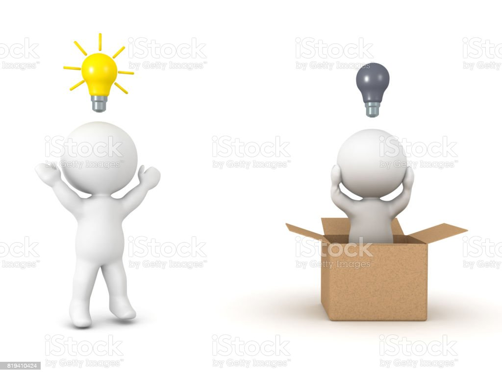 3D illustration depicting the concept of thinking outside the box stock photo