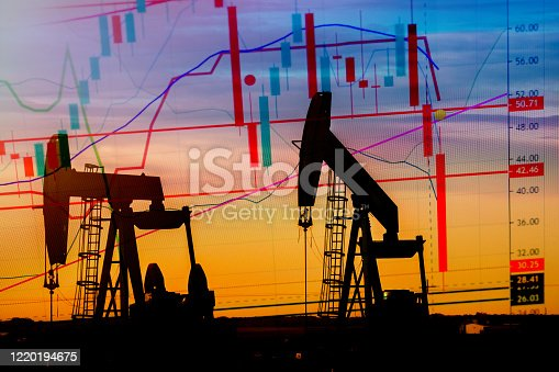 Explicit Illustration depicting the historic fall in the price of oil with an oil well in silhouette in the background