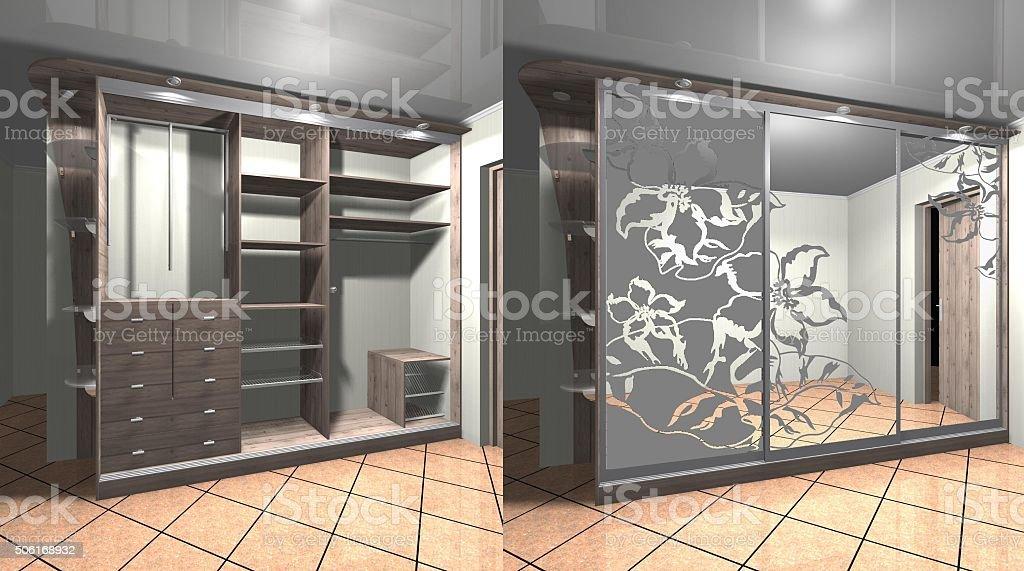 3 D Illustrazione Design Interior Design Cabinet Con Porte ...