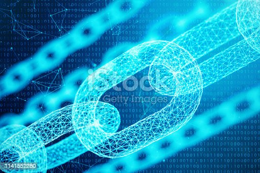 istock 3D illustration digital block chain code. Chain links network. Low polygonal grid of triangles glowing in blue dot network, abstract background. Concept of Network, internet communication. 1141552280