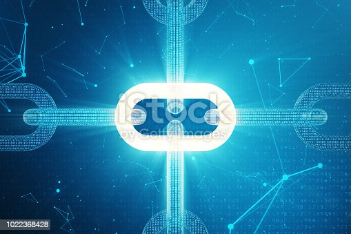 istock 3D illustration digital block chain code. Low polygonal grid of triangles glowing in blue dot network, abstract background. Concept of Network, internet communication 1022368428
