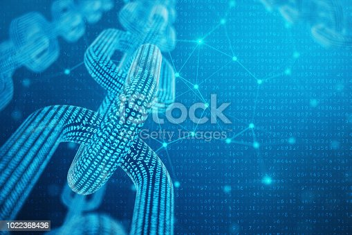 istock 3D illustration digital block chain code. Low polygonal grid of triangles glowing in blue dot network, abstract background. Concept of Network, internet communication 1022368436