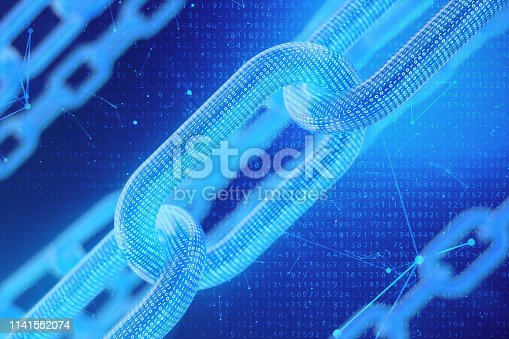 istock 3D illustration digital blockchain code. Chain links network. Binary code on the background. Concept of Network, cryptocurrencies internet communication. Binary code on chains. Innovative technologies 1141552074
