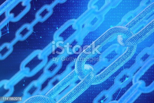 istock 3D illustration digital blockchain code. Chain links network. Binary code on the background. Concept of Network, cryptocurrencies internet communication. Binary code on chains. Innovative technologies 1141552075