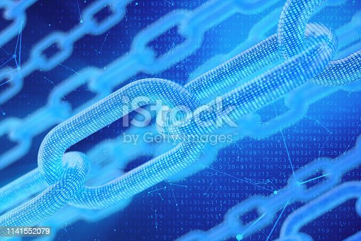 istock 3D illustration digital blockchain code. Chain links network. Binary code on the background. Concept of Network, cryptocurrencies internet communication. Binary code on chains. Innovative technologies 1141552079